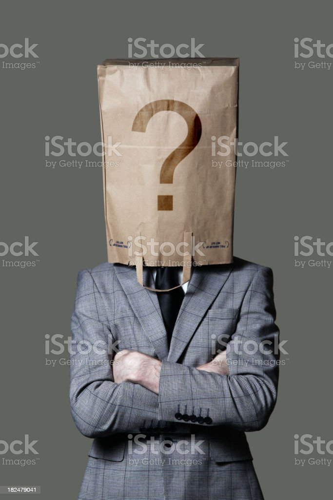 Businessman with paper bag on head royalty-free stock photo