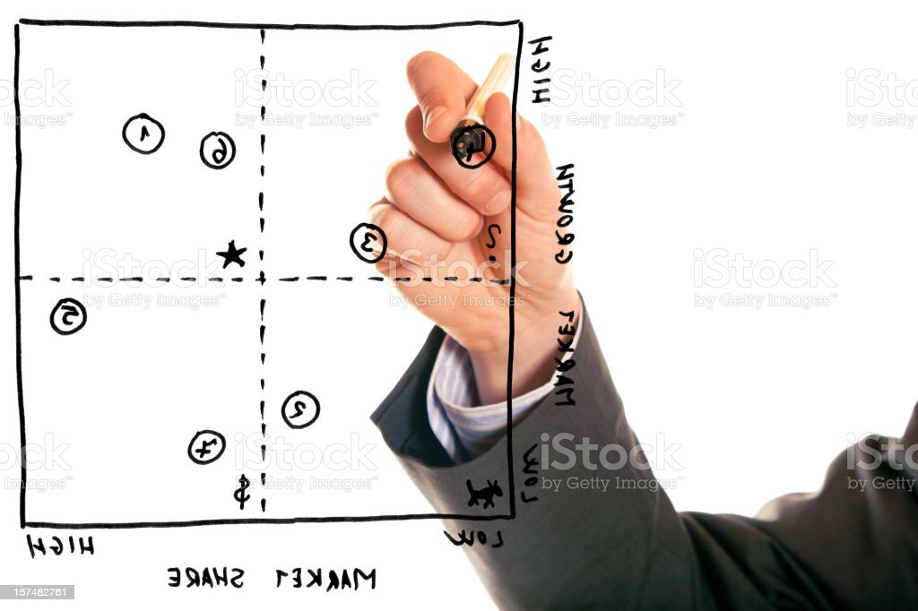 businessman with portfolio analysis royalty-free stock photo