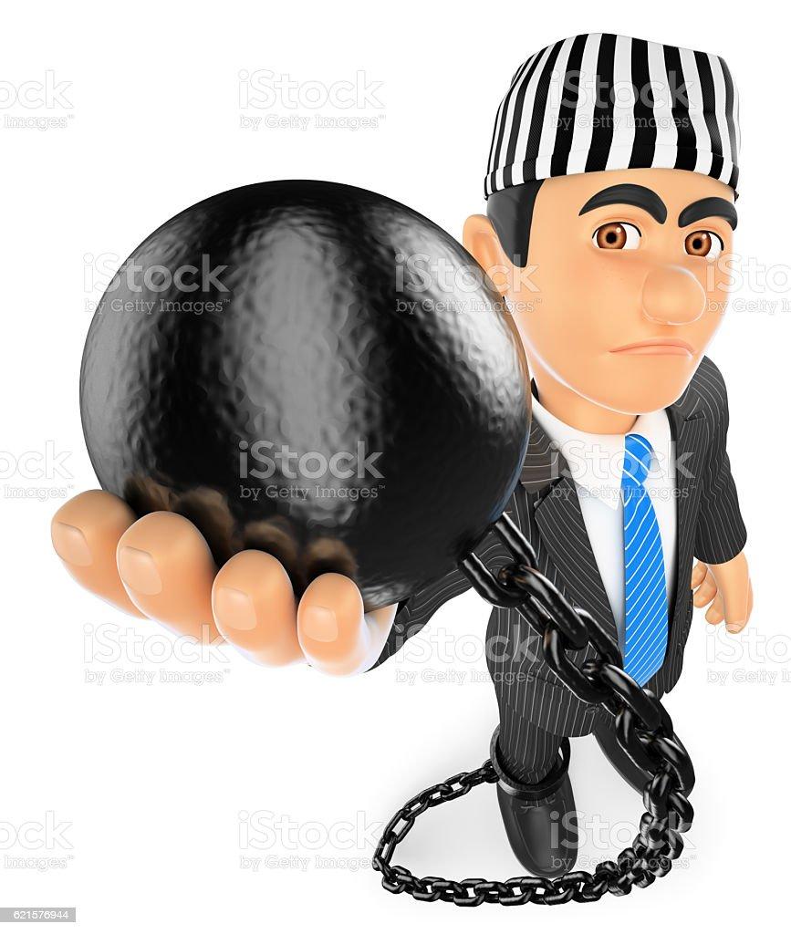 3D Businessman with prisoner ball. Corrupt politician stock photo
