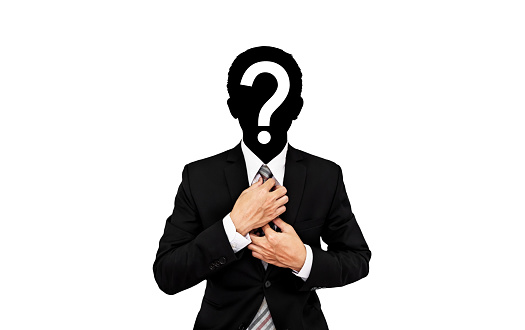 istock Businessman with question mark on head, isolated on white background 645860826