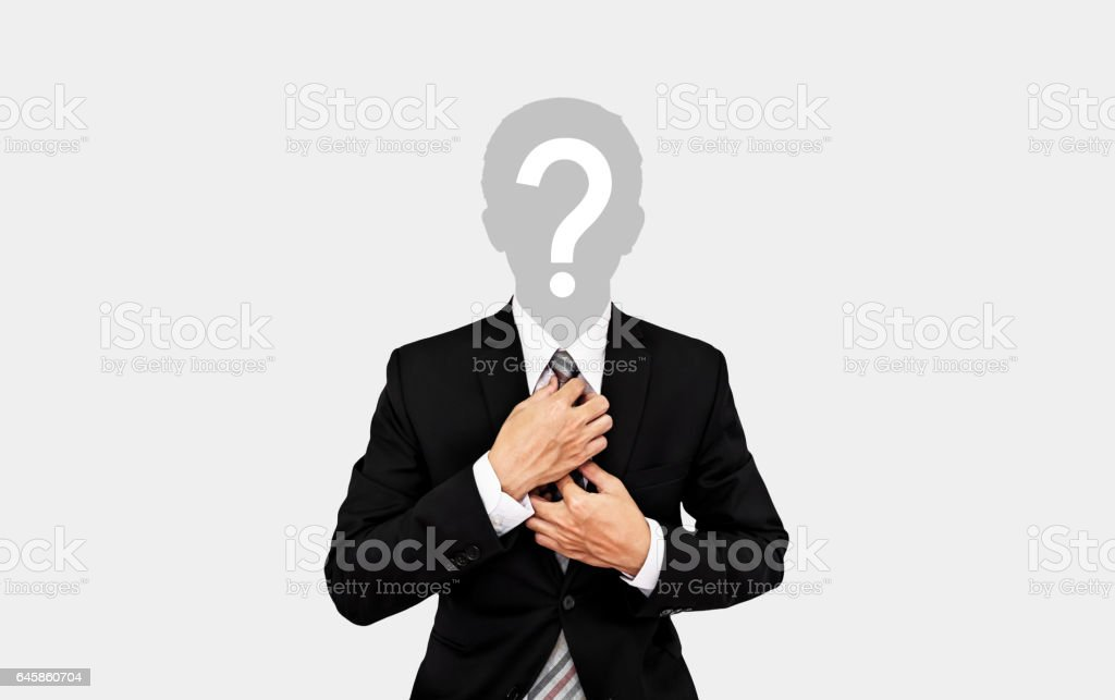 Businessman with question mark on head, on soft grey background stock photo