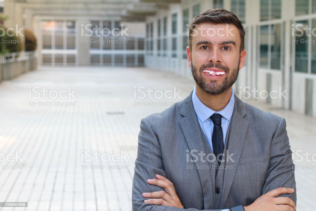 Businessman with really bad teeth stock photo