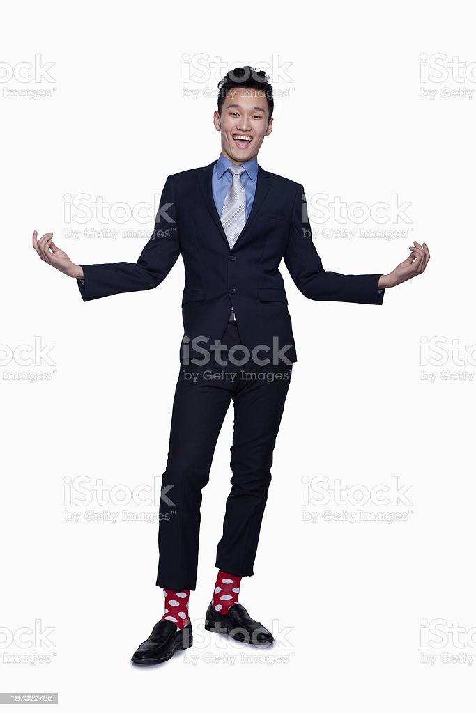 Businessman with Red Polka Dot Socks stock photo
