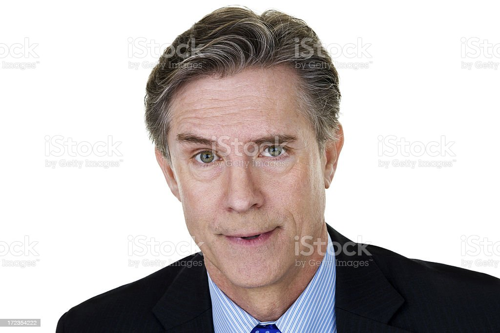 Businessman with sarcastic expression royalty-free stock photo