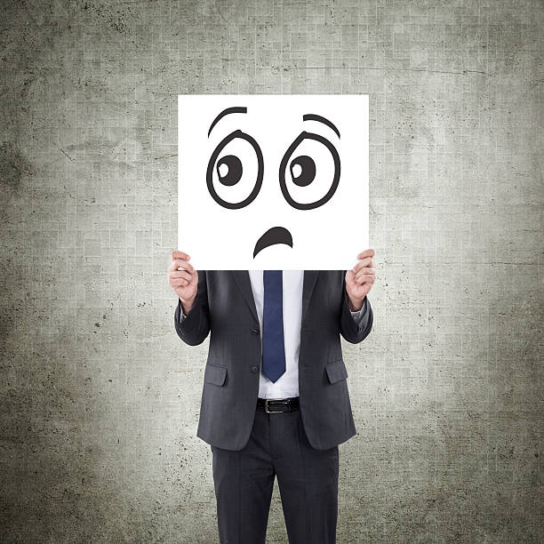 businessman with scared and sad face - sad cartoon images stock photos and pictures