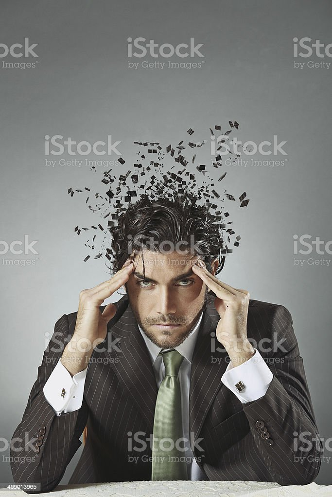 Businessman with scattered mind royalty-free stock photo