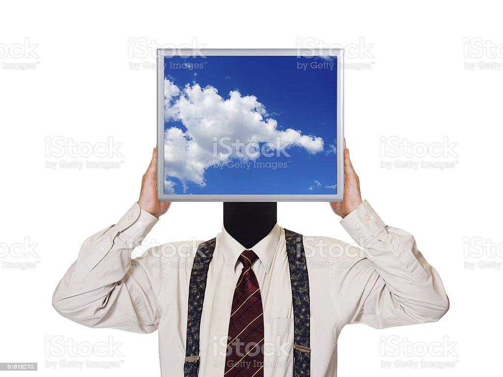 Businessman with sky computer screen royalty-free stock photo