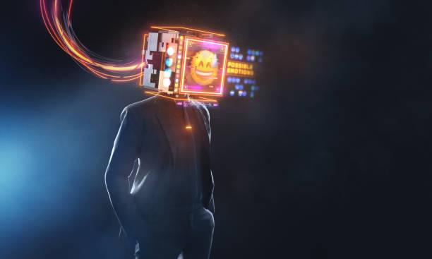 Geschäftsmann mit mily Emoji Projektionswand. 3D-Render futuristisches Konzept – Foto