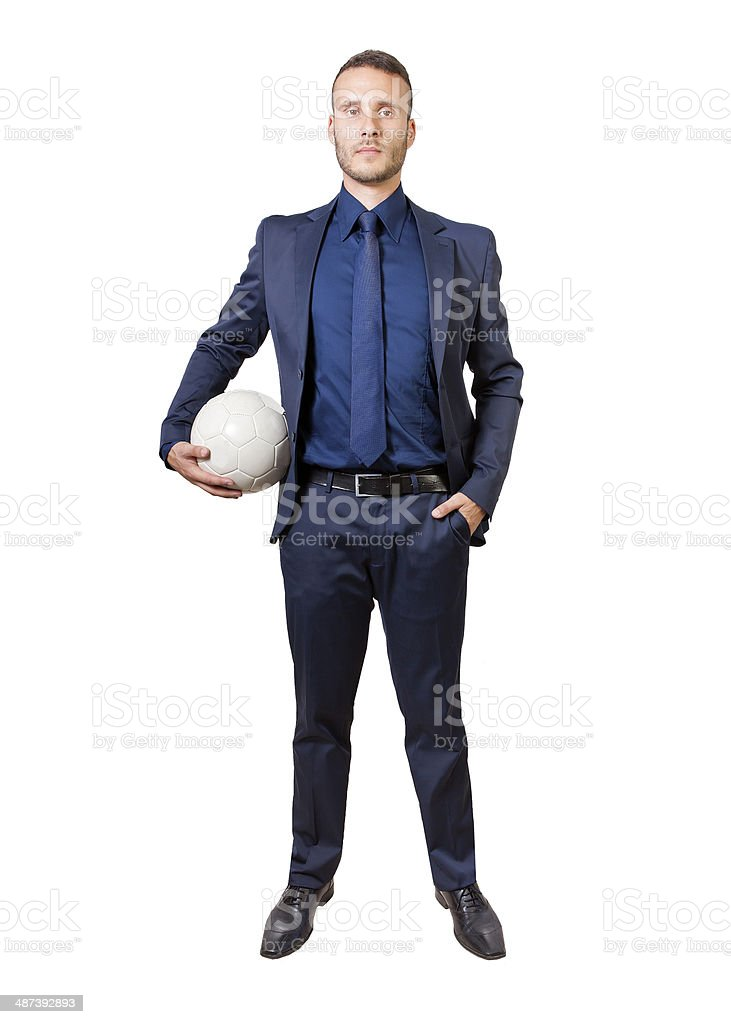 Geschäftsmann mit Fußball bal – Foto