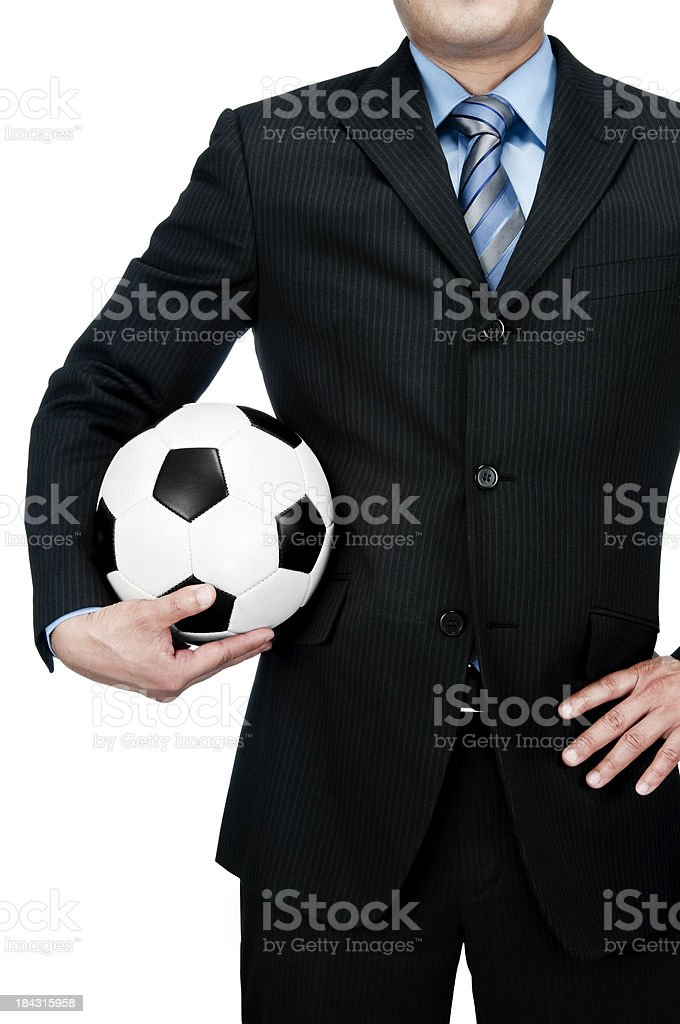 Businessman with soccer ball royalty-free stock photo