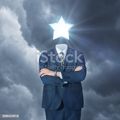 istock Businessman with star instead of the head. 638404818