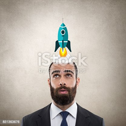 istock Businessman with start up launch 831363676