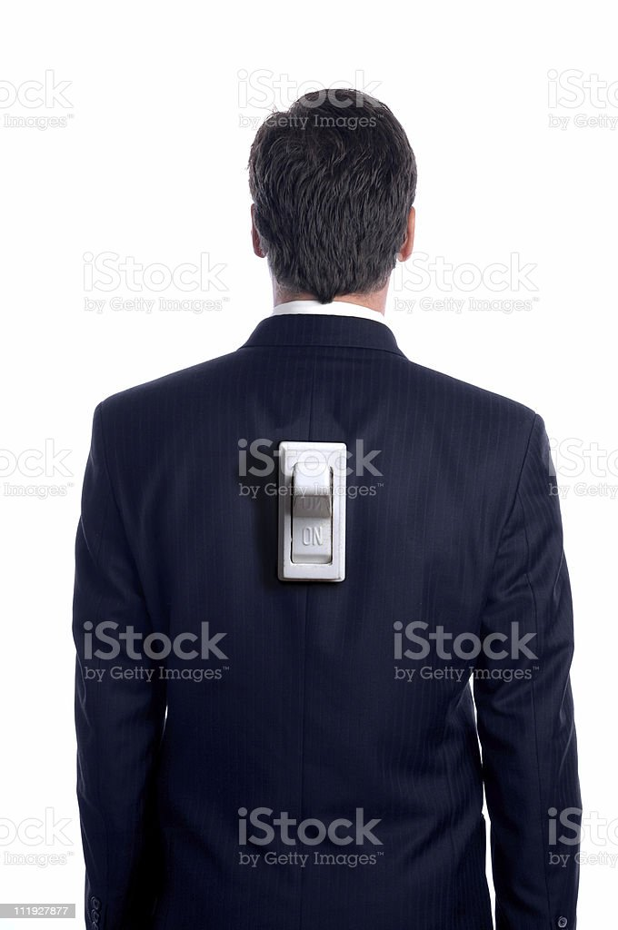 Businessman with Switch on Back Rear View White royalty-free stock photo