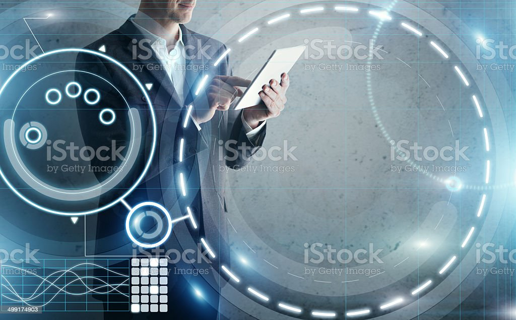 Businessman with tablet computer and digital interface royalty-free stock photo
