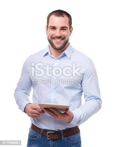 istock Businessman with tablet pc 517998862