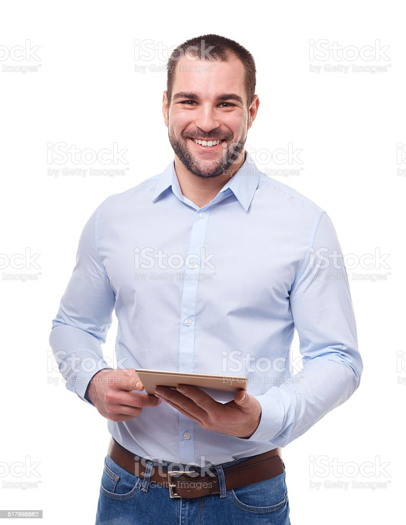 Businessman with tablet pc stock photo