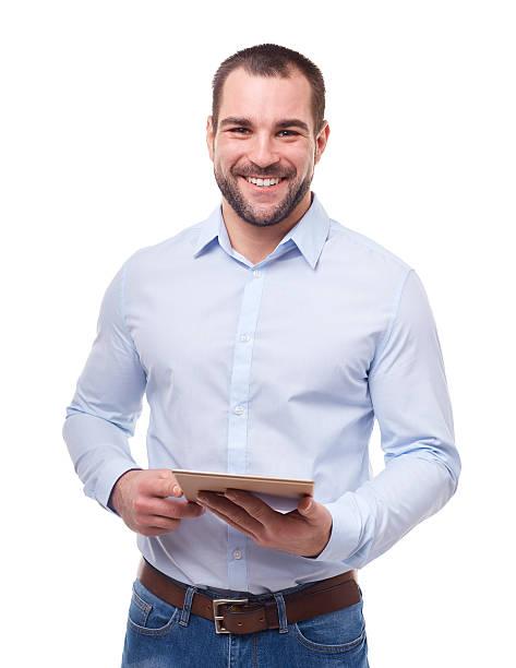 empresário com tablet pc - homem casual standing sorrir imagens e fotografias de stock