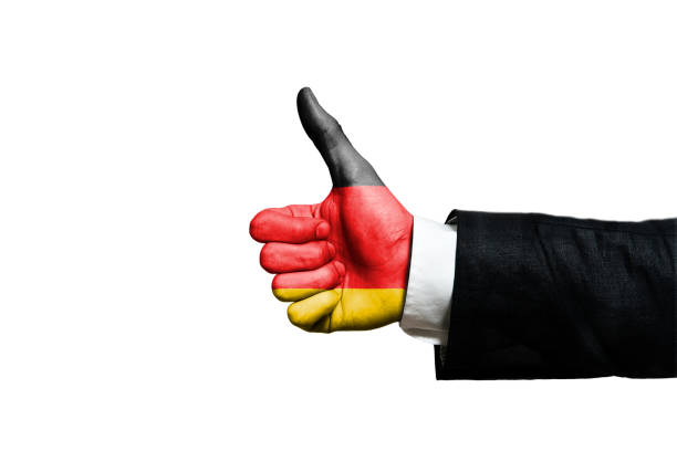 Businessman with thumbs up and GERMANY FLAG / Flag concept (Click for more) stock photo