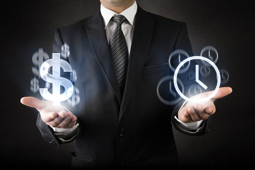 istock Businessman with Time is Money concept 492733144