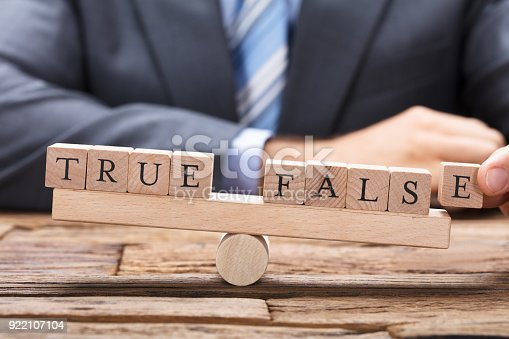 istock Businessman With True And False Wooden Blocks On Seesaw 922107104
