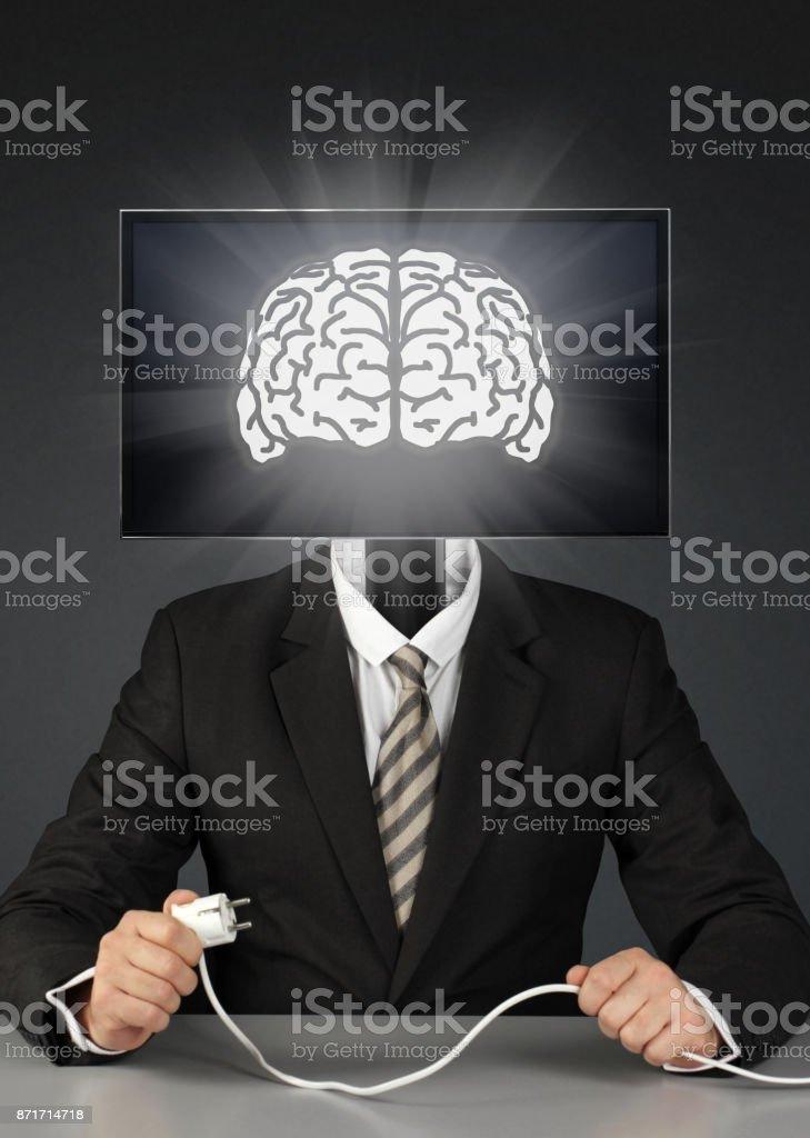 businessman with tv head, mass media addiction concept stock photo