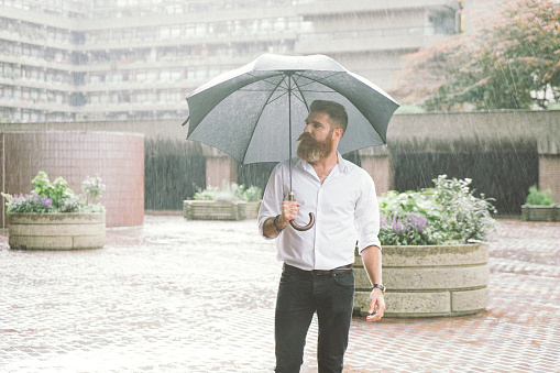 Businessman With Umbrella In The Rain