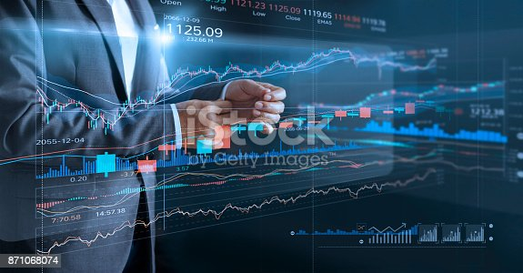 istock Businessman with virtual screen and data statistic index graph, analysis graph of stock market financial, stock exchange and stock market data concept. 871068074