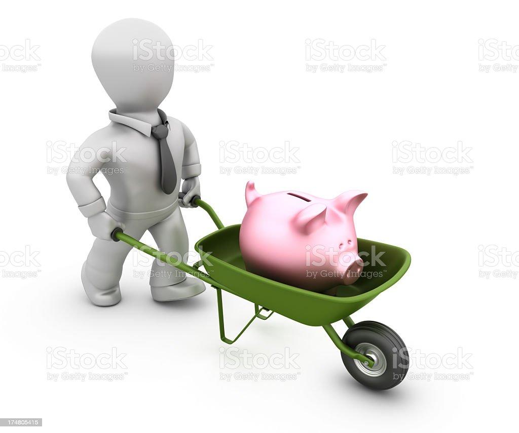 Businessman with Wheelbarrow and Piggy Bank royalty-free stock photo