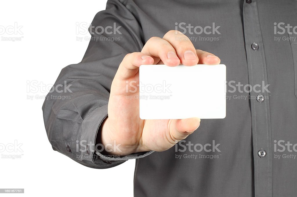 Businessman with white card royalty-free stock photo