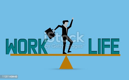 Businessman with work life balance concept, 3D rendering