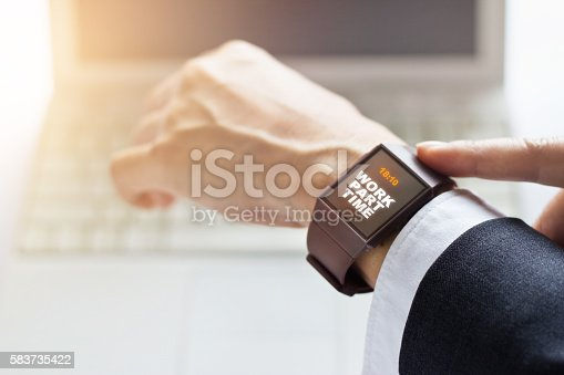 Businessman with work part time word on watch screen