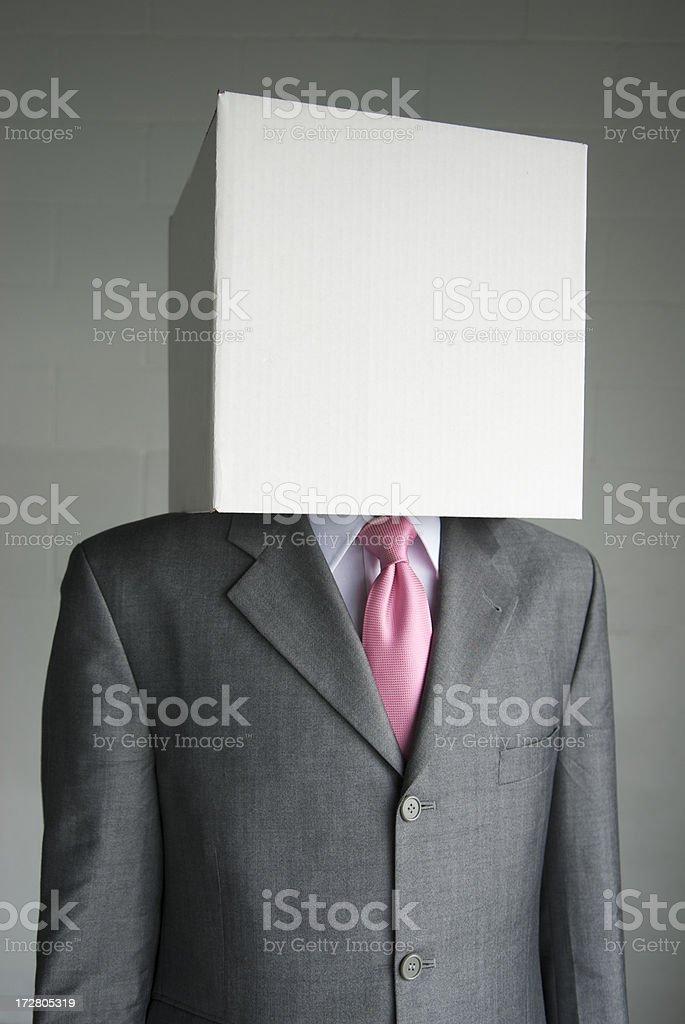 Businessman Without Identity White Box Head royalty-free stock photo