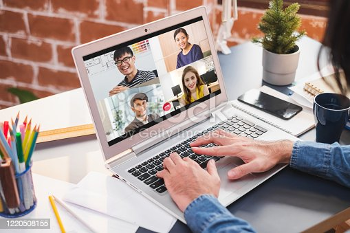 Businessman work at home and virtual video conference with colleagues business people, online working, video call due to social distancing