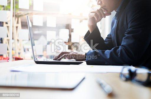 istock Businessman working analysis business information. 659493016