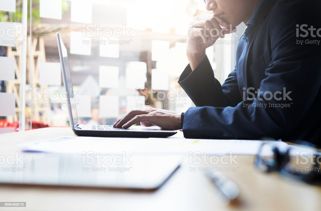 Businessman working analysis business information. stock photo