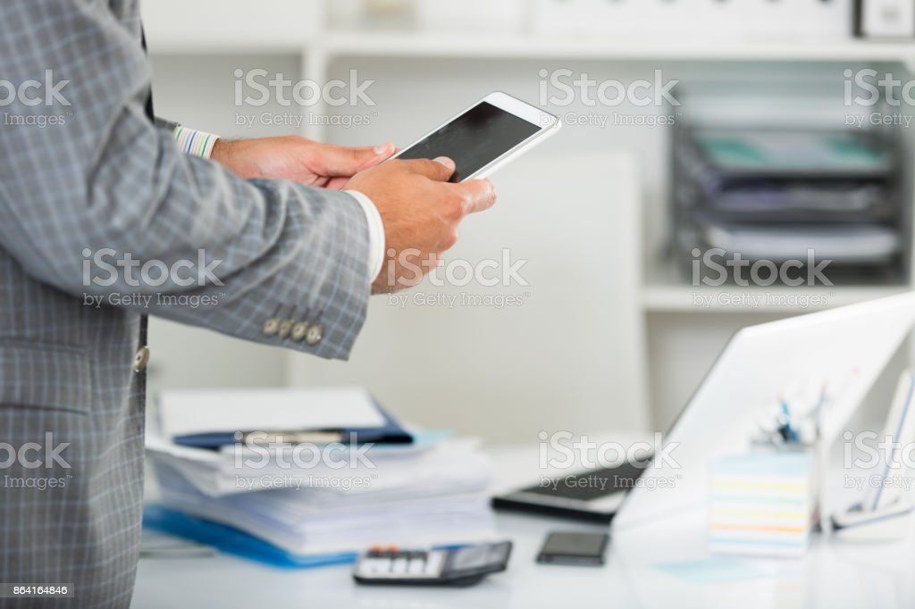 Businessman working and touching screen royalty-free stock photo