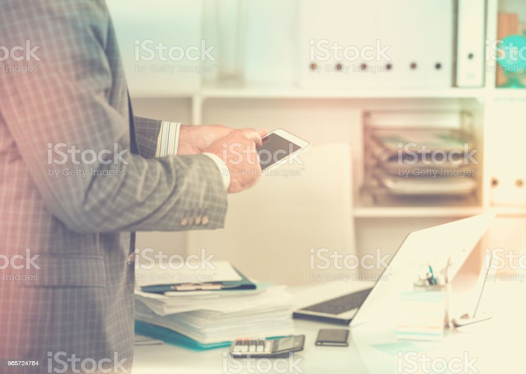 Businessman working and touching screen - Royalty-free Achievement Stock Photo