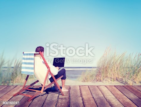 istock Businessman Working by the Beach 500163247