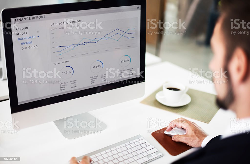 Businessman Working Dashboard Strategy Research Concept stock photo
