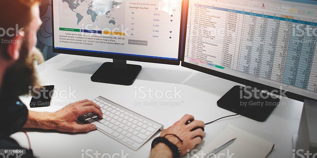 Businessman Working Finance Data Planning Concept stock photo
