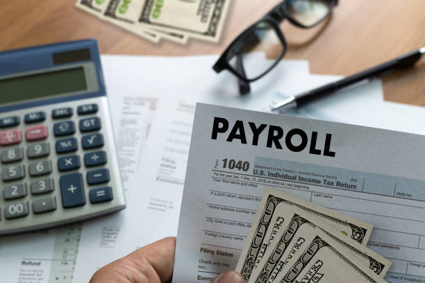 payroll businessman working financial accounting concept - stipendio foto e immagini stock