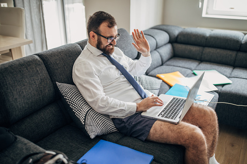 Businessman working from home do to pandemic outbreak