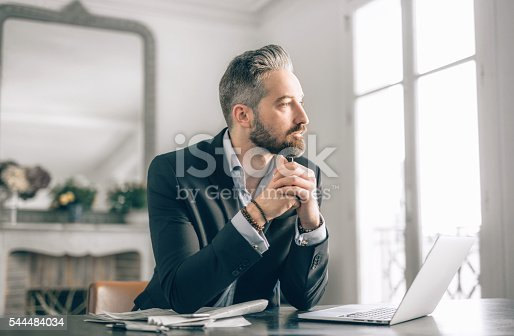 istock Businessman working from home 544484034