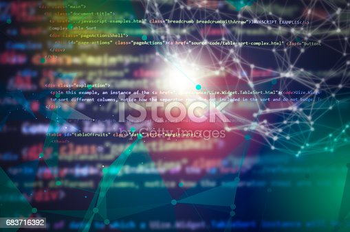 istock businessman working from home using smart phone and tablet, man at his workplace using technology, flare light and Stock market digital graph chart on LED display 683716392