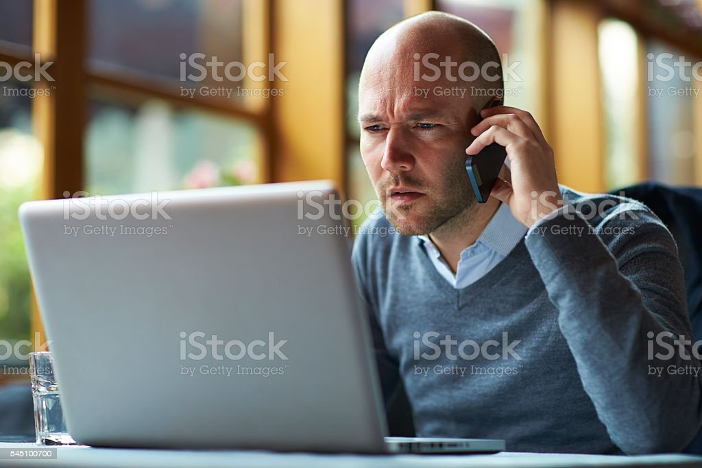 Businessman working in Cafe stock photo