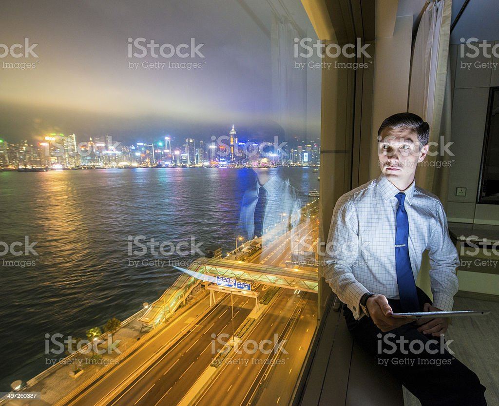 Young business man using tablet