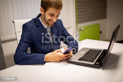 913346608 istock photo Businessman working in modern office 1219916311