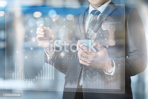 istock Businessman working in the interface . 1203035539