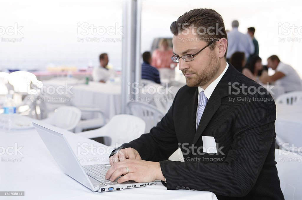 Businessman working on a laptop royalty-free stock photo