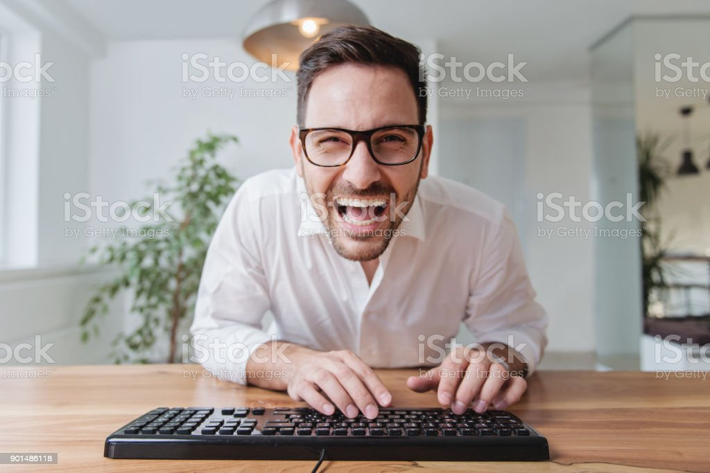 Businessman working on a laptop stock photo